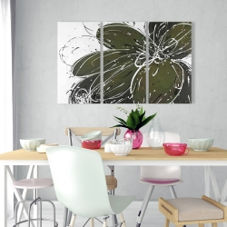 Canvas 24 x 36 - Green flower with splash outline