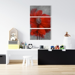 Canvas 24 x 36 - Red flower in the wind