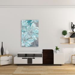 Canvas 24 x 36 - Three little abstract blue flowers
