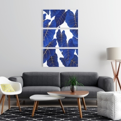 Canvas 24 x 36 - Tropical abstract blue leaves