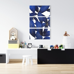 Canvas 24 x 36 - Abstract modern blue leaves