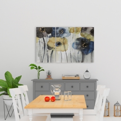 Canvas 24 x 36 - Gray blue and yellow flowers