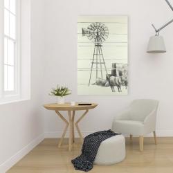 Canvas 24 x 36 - Vintage old texas windmill