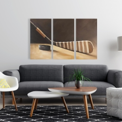 Canvas 24 x 36 - Stick and hockey puck