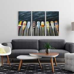 Canvas 24 x 36 - Colorful paddles on the dock