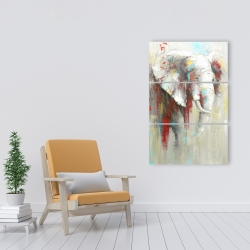 Canvas 24 x 36 - Abstract elephant with paint splash