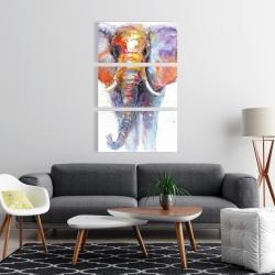 Canvas 24 x 36 - Colorful walking elephant