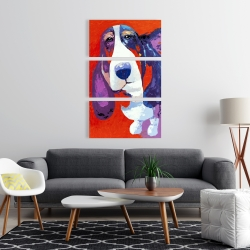 Canvas 24 x 36 - Abstract colorful basset dog