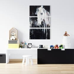 Canvas 24 x 36 - Abstract horse on black background