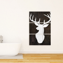 Canvas 24 x 36 - Silhouette of a deer on wood