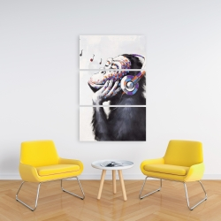 Canvas 24 x 36 - Monkey listening music