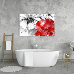 Canvas 24 x 36 - Red & white flowers sketch