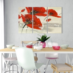 Canvas 24 x 36 - Abstract red flowers in the wind