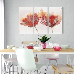 Canvas 24 x 36 - Crimson flowers and butterfly