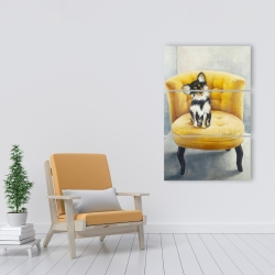 Canvas 24 x 36 - Long-haired chihuahua on a yellow armchair