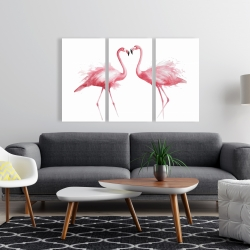 Canvas 24 x 36 - Two pink flamingo watercolor