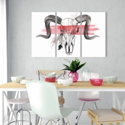 Canvas 24 x 36 - Aries skull with feather