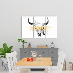 Canvas 24 x 36 - Cow skull with feather