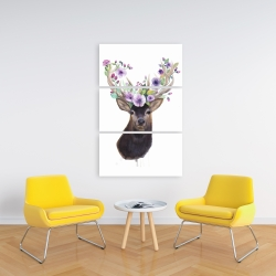 Canvas 24 x 36 - Roe deer head with flowers