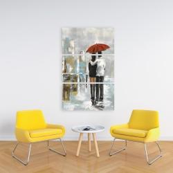 Canvas 24 x 36 - Couple walking under their umbrella