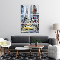 Canvas 24 x 36 - Urban scene with yellow taxis