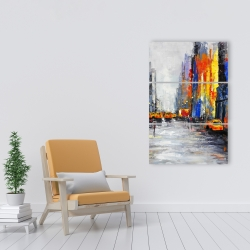 Canvas 24 x 36 - Color spotted street with taxis