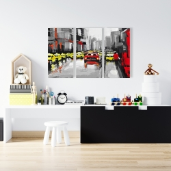 Canvas 24 x 36 - Abstract traffic by a rainy day