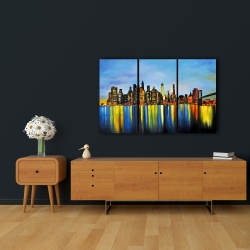 Canvas 24 x 36 - City by night with a bridge