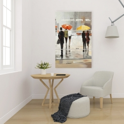 Canvas 24 x 36 - Abstract passersby with umbrellas