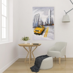 Canvas 24 x 36 - Yellow taxi and city sketch
