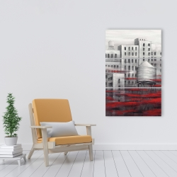 Canvas 24 x 36 - Gray city with red clouds
