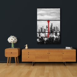 Canvas 24 x 36 - Space needle in red