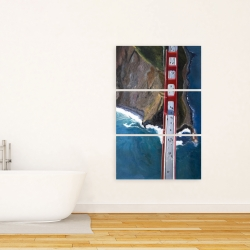 Canvas 24 x 36 - Overhead view of the golden gate and mountains