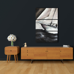 Canvas 24 x 36 - Boat in a violent storm