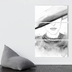 Canvas 40 x 60 - Mysterious lady with a hat