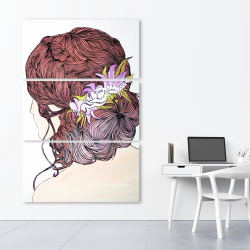 Canvas 40 x 60 - Woman from behind with flowers