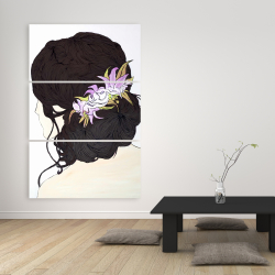 Canvas 40 x 60 - Woman from behind with pink flowers