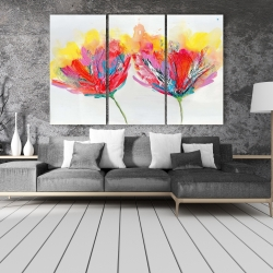 Canvas 40 x 60 - Colorful flowers with a butterfly
