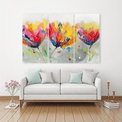 Canvas 40 x 60 - Four colored flowers on gray background