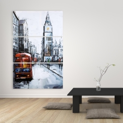 Canvas 40 x 60 - Abtract london with red bus