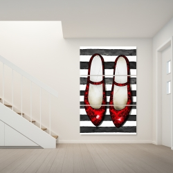 Canvas 40 x 60 - Red glossy shoes on striped background