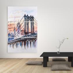 Toile 40 x 60 - Esquisse d'un pont avec message écrit à la main