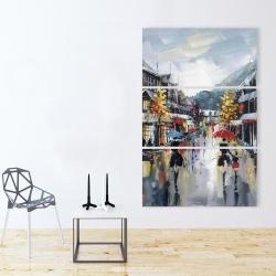 Toile 40 x 60 - Passants dans la rue par une pluvieuse journée d'automne