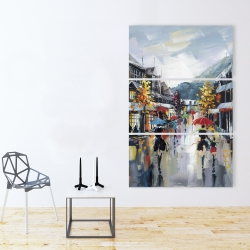 Canvas 40 x 60 - Passersby in the street by rainy day of fall
