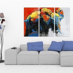 Canvas 40 x 60 - Colorful abstract moving elephant
