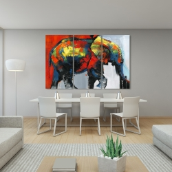 Canvas 40 x 60 - Abstract and colorful elephant in motion