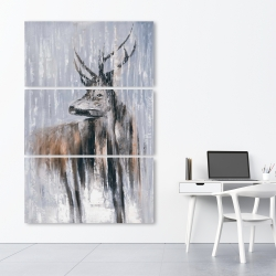 Canvas 40 x 60 - Deer in the forest by a rainy day