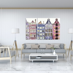 Canvas 40 x 60 - Old historic houses amsterdam