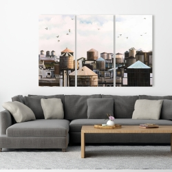 Canvas 40 x 60 - Water towers with birds