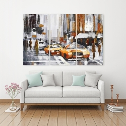 Canvas 40 x 60 - Abstract citystreet with yellow taxis